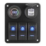 New              12V 3 Gang Blue Toggle Rocker Switch Panel Voltmeter USB Charger Car Marine Boat