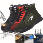 New              Men's Safety Work Shoes Steel Toe Cap High-top Running Sneakers Breathable Ankle Boots Climbing Walking Jogging