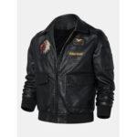 New              Mens Tribal Embroidery Eagle Head Badge Pocket Zipper Long Sleeve PU Leather Jackets