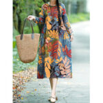 New              Floral Leaf Print Vintage Casual Midi Dress with Side Pockets