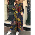 New              Women Retro Floral Leaves Print Button Down Long Sleeve Maxi Shirt Dress With Pocket