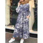 New              Vintage Floral Print Cotton Kaftan Tunic MuslimMaxi Dress with Side Pockets