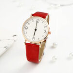 New              Fashion Simle Dial Big Number Casual Style Leather Strap Ladies Women Watch Quartz Watch