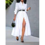 New              Women Basic Button Down Front Lapel Solid Color Long Sleeve Shirt Dress