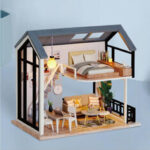 New              CUTE ROOM Miss Happeiness Theme of DIY Assembled Doll House With Cover for Children Toys
