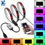 New              1M/3M/5M bluetooth APP 5050 RGB LED Strip Light Tape IP65 Waterproof USB Background Lamp 5V