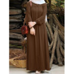 New              Women Solid Color Pleated Puff Sleeve Robe Vintage Maxi Dress