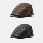 New              2PCS Collrown Men's PU Leather Retro Casual Solid Color Warm Newsboy Hat Forward Hat Beret Hat