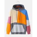 New              Colorful Patchwork Solid Color Kangaroo Pocket Long Sleeve Hoodies For Men