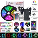 New              10M/15M 32.81FT/49.21FT 2835 bluetooth APP LED Strip Light Non-waterproof RGB Flexible Lamp+24-Keys Remote Control DC12V