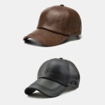 New              2PCS Collrown Men PU Leather Vintage Casual Personality Soolid Color Baseball Cap With Woven Pattern