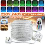New              2M/4M/6M/8M/10M/15M Waterproof 5050 SMD RGB LED Strip Light Decorative Lamp Kit with UK Plug AC220-240V