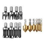 New              Drillpro 14pcs Woodworking Chamfer Countersink Drill Bits Wood Plug Cutter Set