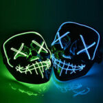 New              Halloween LED Mask Purge Masks Election Mascara Costume DJ Party Light Up Masks Glow In Dark 10 Colors To Choose