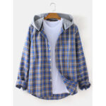 New              Mens Tartan Loose Fit Button Up Long Sleeve Drawstring Hooded Jacket