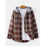 New              Mens Tartan Button Up Long Sleeve Curved Hem Loose Fit Drawstring Hooded Jacket