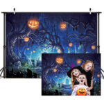 New              Halloween Tree Pumpkins For Horizontal Photography Background Cloth