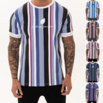 New              Mens T-shirt Summer Streetwear Stripe Men T Shirt Casual Man Clothing Hip Hop Male Tees Tops Fashion Clothing Men