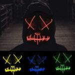 New              EL Cold Light Mask LED Light Luminous Halloween Mask Cosplay Glow LED Scary EL Wire Light Up Grin Masks Hip-hop Luminous Cross Mask