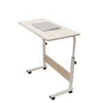 New              80cm/60cmx40cm Movable Rolling Laptop Desk Table Adjustable Height Bedside Stand